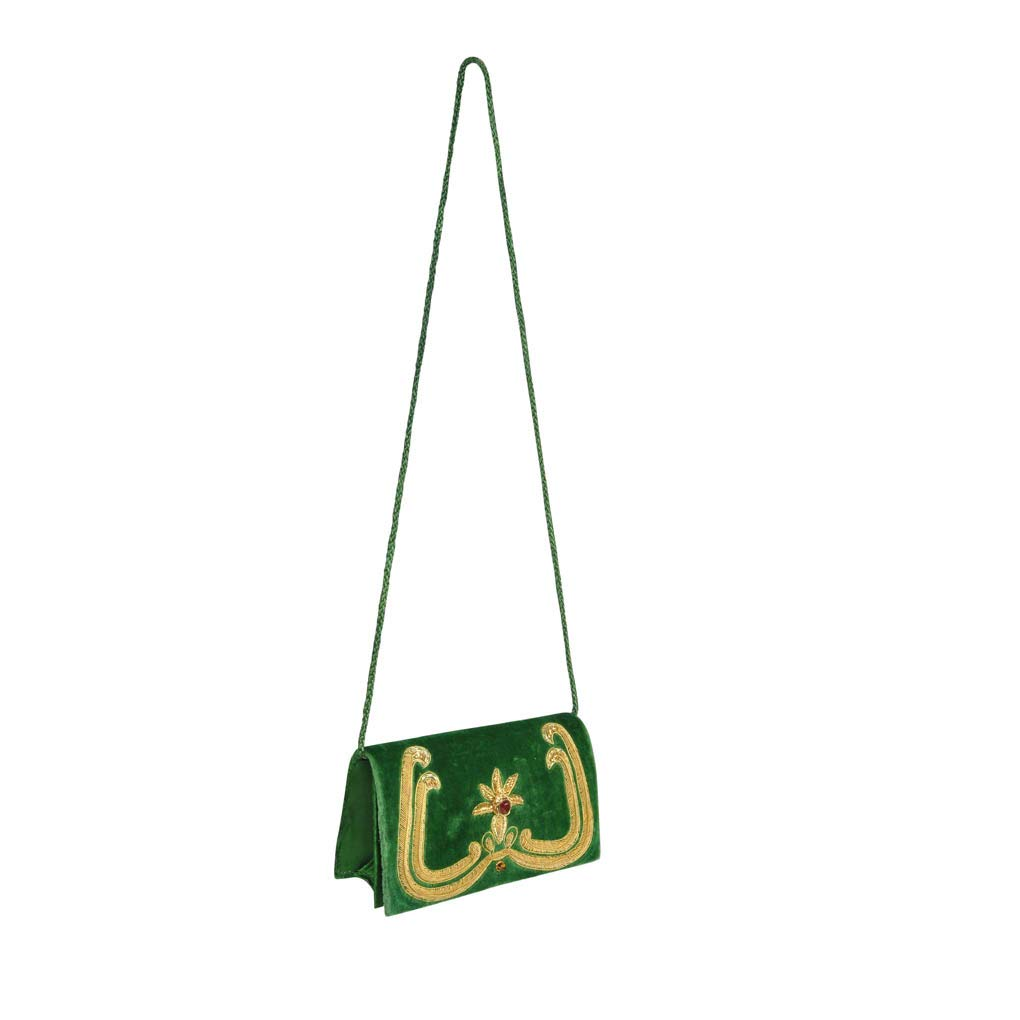 Lalhaveli Indian Embroidery Velvet Clutch Purse Light Weight Wristlet Crossbody Bag with String Strap for Women's Day Gift