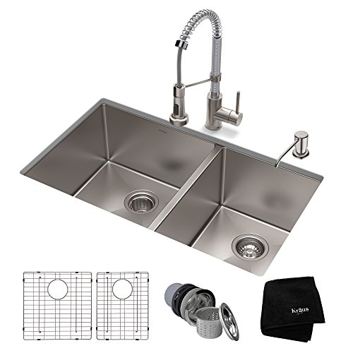 KRAUS KHU103-33-1610-53SSCH Set with Standart PRO Farmhouse Sink and Bolden Commercial Pull Faucet in Stainless Steel Chrome Kitchen Sink & Faucet Combo, -