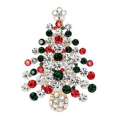 Ioffersuper 1 Pcs Xmas Gift Crystal Rhinestone Christmas Tree Brooch Pin Crystal Rhinestone Christmas Tree Pin