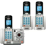 VTech DS6521-3 DECT 6.0 Cordless Phone, Silver/Black, 3 Handsets