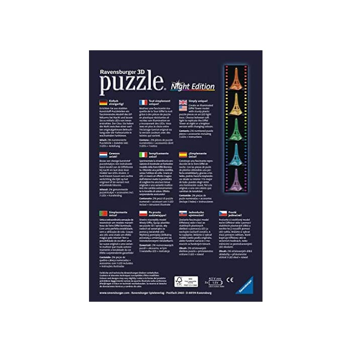 51NhhWT6z3L Contiene 216 piezas con la tema de Tour Eiffel Piezas de plástico que se encajan perfectamente sin uso de pegamento Versión 3D