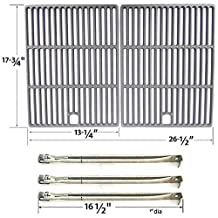 Repair Kit For Perfect Flame SLG2007B, 63033, SLG2007BN, 64876 BBQ Gas Grill Includes 3 Stainless Burners and Cast Iron Cooking Grates