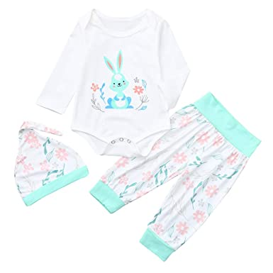 5e8a9fa6584 Amazon.com  3pcs Easter Day Baby Girls Boys Pants Set Newborn Infant  Toddler Bunny Romper Pants Hats Headband Clothes  Clothing