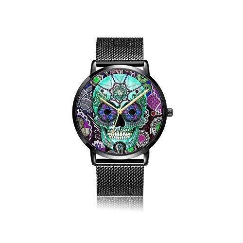 Customized Black Steel&Stainless Steel Waterproof Band Wrist Watch - Sugar Skull (Personalized Stainless Steel Watch)