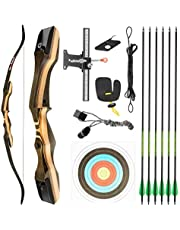 """TIDEWE Recurve Bow and Arrow Set for Adult & Youth Beginner, Wooden Takedown Recurve Bow 62"""" Right Handed with Ergonomic Design for Outdoor Training Practice"""