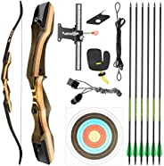 """TIDEWE Recurve Bow and Arrow Set for Adult & Youth Beginner, Wooden Takedown Recurve Bow 62"""" Right Ha"""