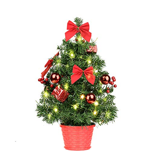 SHareconn 18 Inches Pre-lit Artificial Tabletop Christmas Tree, Mini Xmas Decor Tree with 28 Warm LED Lights, Perfect Decor for Christmas Day