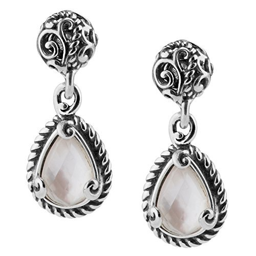 Mother Of Pearl Doublet - Carolyn Pollack Signature Sterling Silver White Mother of Pearl Doublet Dangle Earrings