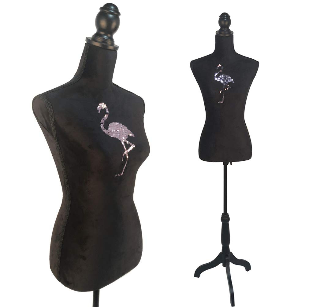 Female Mannequin Torso Dress Form Tripod Stand display with Flamingo Sequin