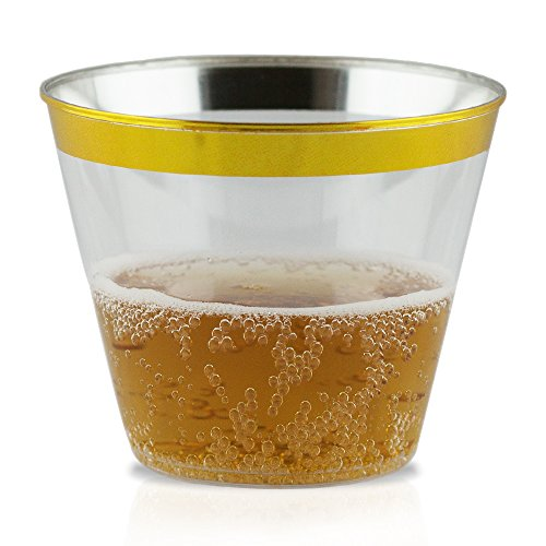 60 Gold Plastic Cocktail Cups | Hard Clear Disposable Wine Cups with Gold Rim | Fancy 9oz. Tumblers | Great for Parties, Weddings, Graduation and Bridal Showers