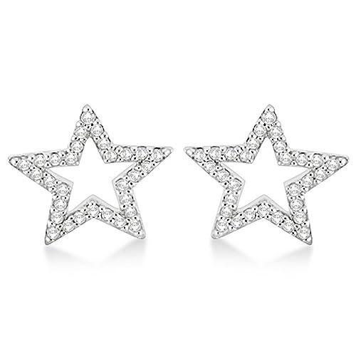 0c6fff3bc Fancy Fashion Diamond G-H/SI Precious Star Shaped Stud Earrings in 14K  White Gold (