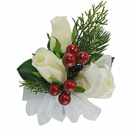 (Winter Berry Corsage Velvet Rose, Pine Red/Ivory Wedding Formal (red berry))