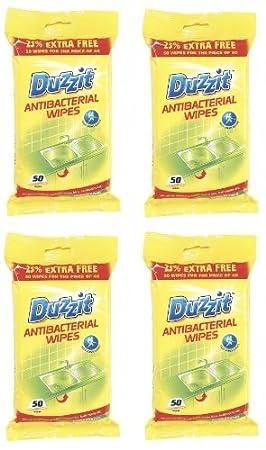 4 x paquetes de 50 toallitas antibacterianas, Mata Gérmenes