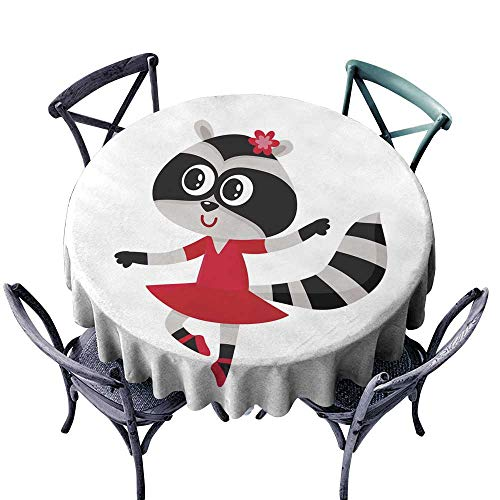 Warm Family Wrinkle Resistant Tablecloth Cute Raccoon Character Ballet Dancer in Pointed Shoes Tutu Skirt D71