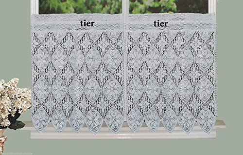 tkcreativelinenswholesale White Knitted Crochet Lace Kitchen Curtain 30