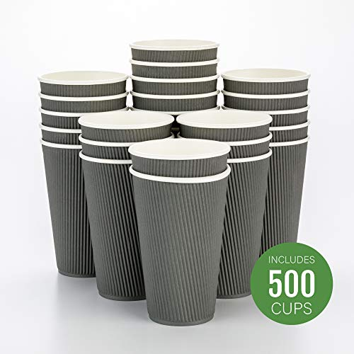 Cup Design - 500-CT Disposable Gray 16-OZ Hot Beverage Cups with Ripple Wall Design: No Need for Sleeves - Perfect for Cafes - Eco-Friendly Recyclable Paper - Insulated - Wholesale Takeout Coffee Cup