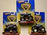 Hot Wheels Monster Jam 2009, 3 trucks: Jurassic Attack, Martial Law and U.S. Air Force Afterburner, 1:64 Scale.