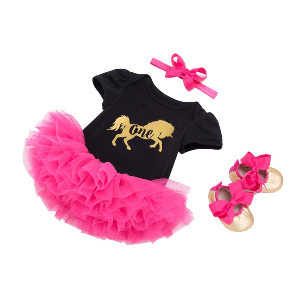 Tutu Tulle Skirt and Headband Outfits Shoes Set Black 4Pcs Newborn Baby Girls Clothes Rompers