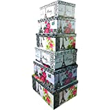 Alef Elegant Decorative Themed Nesting Gift Boxes -6 Boxes- Nesting Boxes Beautifully Themed and Decorated - Perfect for Gifts or Simple Decoration Around the House! (Eiffel Tower)