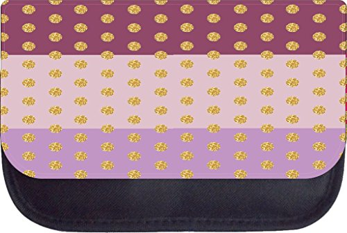 - Gold glitter polka dots on colorblock purples TM Medium Sized Cosmetic Case-Made in the U.S.A.