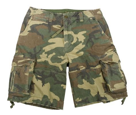 Rothco Vintage Infantry Shorts, Woodland, Large ()
