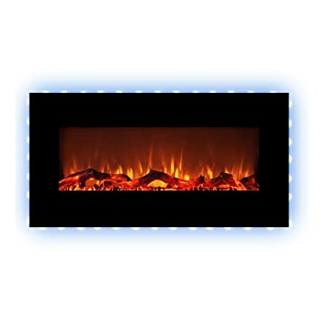 FLAMEandSHADE 34u0026quot; Electric Fireplace Space Heater With Remote, 10 LED  Flame And Backlight Colors