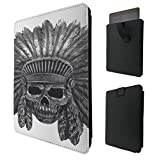 """C0500 - Indian Skull Headdress For All Amazon Kindle Fire Hd 7"""" Fire 7"""", HDX 7,Paperwhite 6,Hd 6 Quality Tpu Leather Pull Tab Pouch Case Sleeve Cover"""