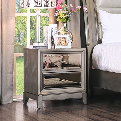 Furniture of America Gold-tinted Nightstand Silver Silver - Mirror Gold Tinted