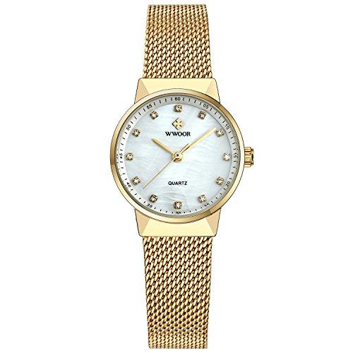 Mens Elite Bracelet Watch - WWOOR Women's Mesh Band Steel Bracelet Ladies Elite Sports Wrist Watch Gold