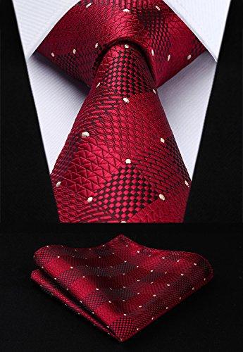 HISDERN Extra Long Check Tie Handkerchief Men's Necktie & Pocket Square Set (Red & White)