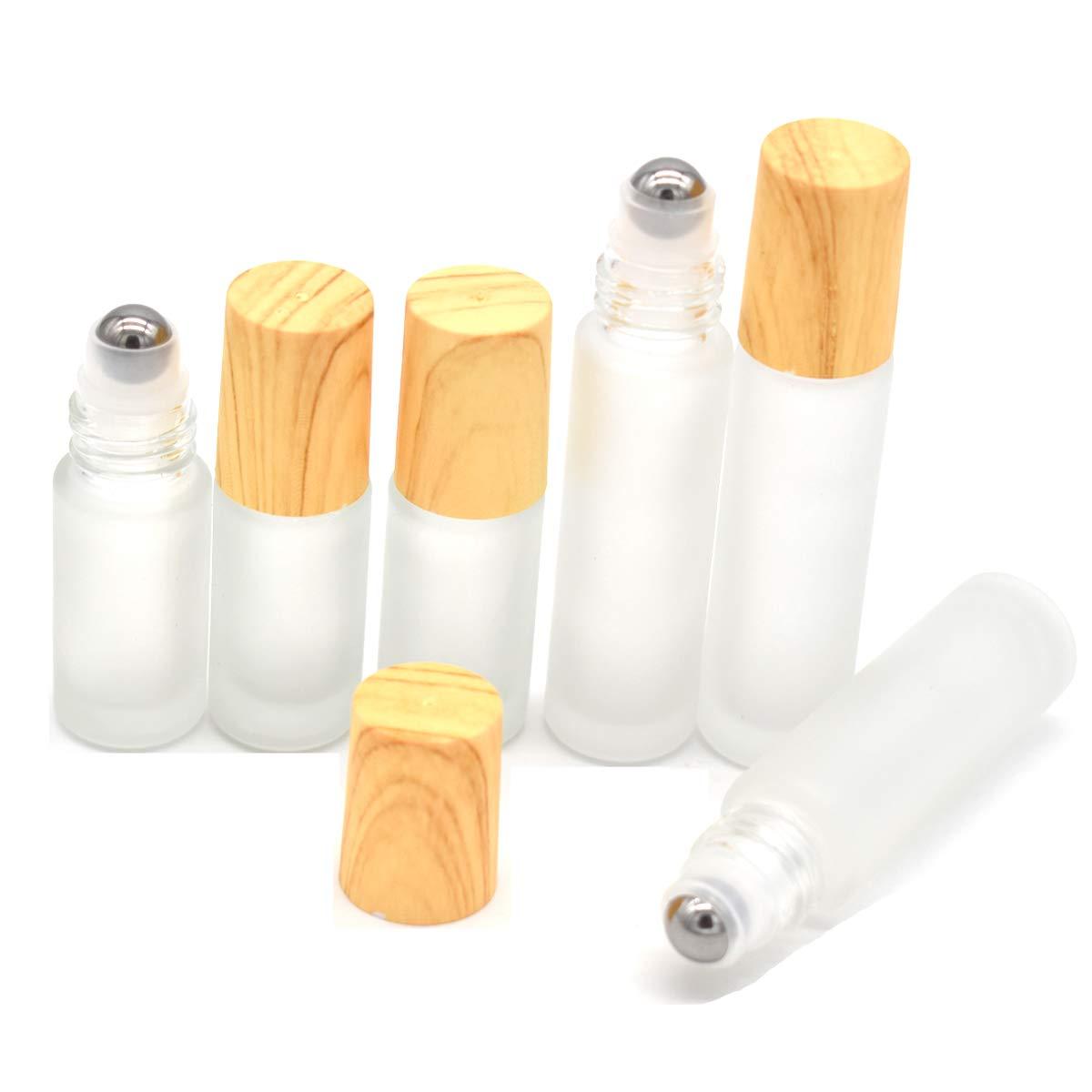 Yueser 6 piezas Botellas Roll On para Aceites Esenciales con Roll-on Bola de Acero Inoxidable y Tapa de Bambú para Perfume Aromaterapia Aceite Esencial,5 ml 10ml