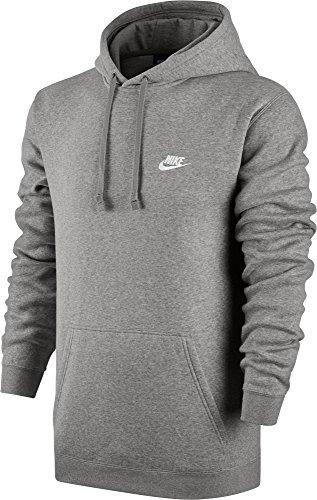 Nike Mens Sportswear Pull Over Club Hooded Sweatshirt - X-Large - Grey/White