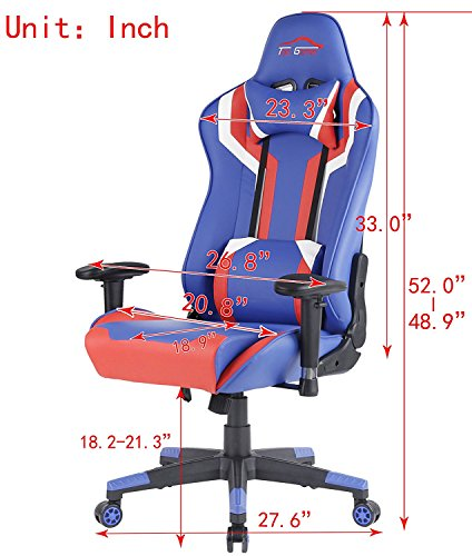 Top Gamer Gaming Chair PC Computer Game Chairs for Video Game (Blue/Red/White,2) by Top Gamer (Image #3)