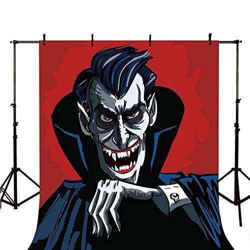 Vampire Stylish Backdrop,Cartoon Cruel Old Man with Cape Sharp Teeth Evil Creepy Smile Halloween Theme for Photography,118