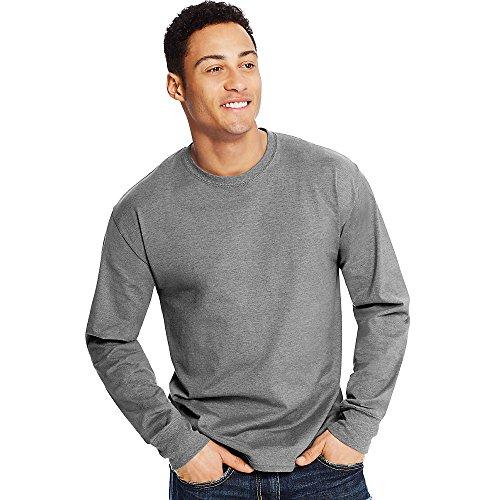 (Hanes X-Temp Mens Long-Sleeve T-Shirt O5716, M, Mid Charcoal)