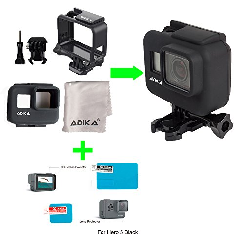 The Frame Mount Kit for Gopro Hero5 Hero6 Black Skeleton Case + Silicone Case Cover Skin for Gopro The Frame Hero 5 + hero 5 6 screen protector + hero 5 6 lens protector film by ADIKA by ADIKA