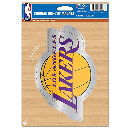 NBA Los Angeles Lakers Die Cut Logo Chrome Magnet, 6.25 x 9-Inch