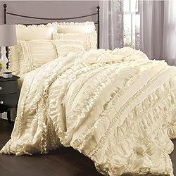 Lush Decor Belle 4-Piece Comforter Set, King, Ivory