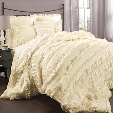 Lush Decor Belle 4-Piece Comforter Set, Queen, Ivory