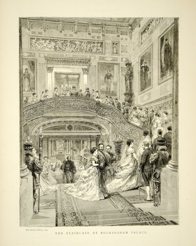 1870 Wood Engraving Art Staircase Buckingham Palace Interior British Royalty - Original In-Text Wood Engraving (Engraving Palace)