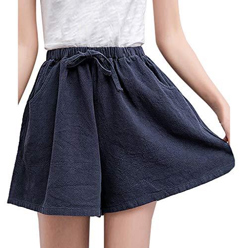 TIANMI Women Solid High Waist Cotton and Linen Shorts Pants Casual Beach Shorts Navy