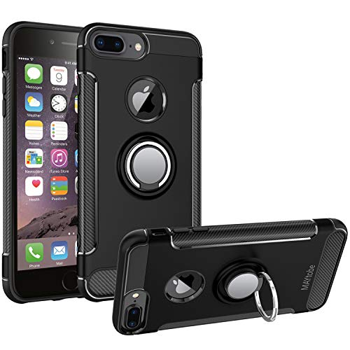 MAYtobe iPhone 8 Plus Case, iPhone 7 Plus Case - Ultra Defender TPU + PC Shock Protective Ring Case for Apple iPhone 8 Plus, iPhone 7 Plus Work with Magnetic Car Mount 360 Rotating - Black