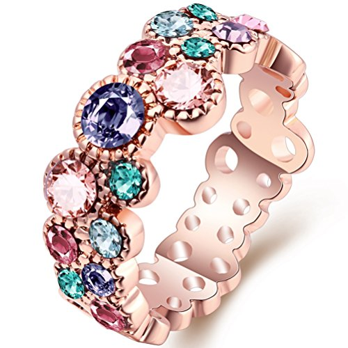 FENDINA Women's 18K Rose Gold Plated Wedding Engagement Rings Multi-Colored CZ Anniversary Cocktail Band Rings Cute Bubble Fashion Jewelry Rings