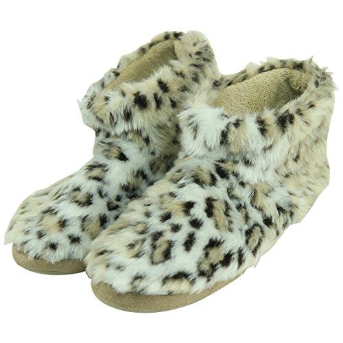 Forfoot Womens Cozy Fleece House Indoor Slipper Boots Lepoard Beige QHsvw
