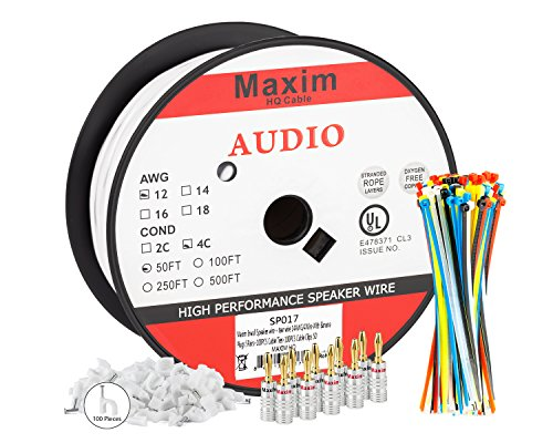 Maximm In Wall Speaker Wire - 50 Feet - 14AWG CL3 Rated 4-Conductor Wire - White , Pure Copper - Banana plugs, Cable clips and ties Included