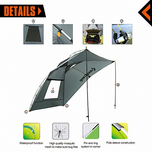 Kingcamp® Compass Auto Shade - Rip-stop, Waterproof 1500mm, Seam Taping, Multifunctional Uses, SUV Shade