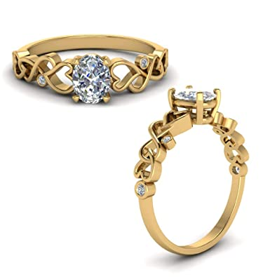 Silverstarking 14K Yellow Gold Plated Vintage Engagement