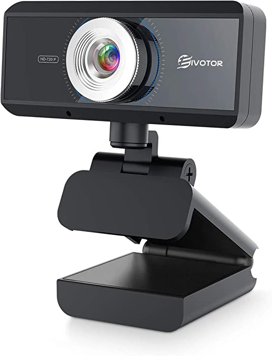 HD Webcam with Microphone, EIVOTOR 720P Desktop Computer PC Web Camera with Tripod Hole, Laptop USB Webcam for Skype OBS Video Chat Record YouTube Twitch Game Streaming Video Conference