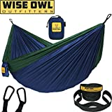 Wise Owl Outfitters Hammock for Camping Single & Double Hammocks Gear for The Outdoors Backpacking Survival or Travel - Portable Lightweight Parachute Nylon DO Navy & Forrest