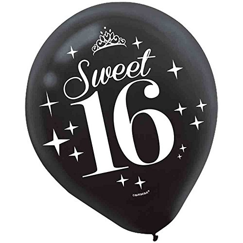 Chic Sweet Sixteen Birthday Celebration Latex Balloon Party Decoration (6 Pack), Multi Color, (Black And White Sweet 16)